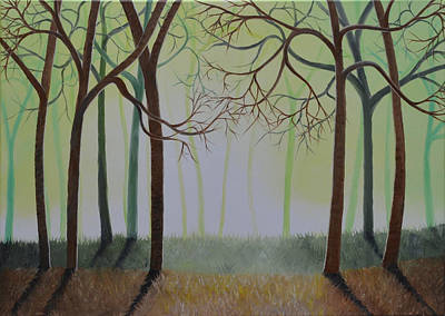 Painting - Misty Forest by Sven Fischer