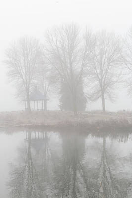 Photograph - Misty Haze Gazebo Vertical Reflection by Patti Deters