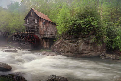 Misty Glade Creek Grist Mill Art Print by Lori Deiter