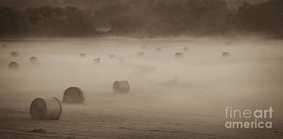 Photograph - Misty Hay Bales by Tamara Becker