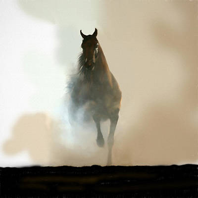 Mixed Media - Misty Horse by Charlie Alolkoy