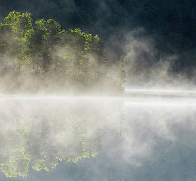 Laurentians Photograph - Misty Lake Sunrise by Mircea Costina Photography
