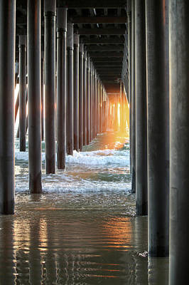 Photograph - Misty Light Under Pismo Pier by Art Block Collections