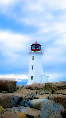 Photograph - Misty Lighthouse - Peggy's Cove by SBrousseau