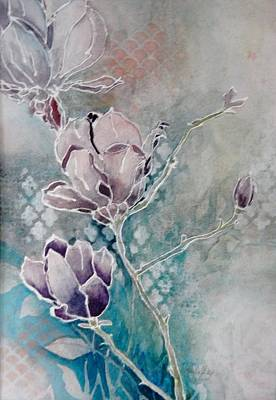 Painting - Misty Magnolias by Paula Day
