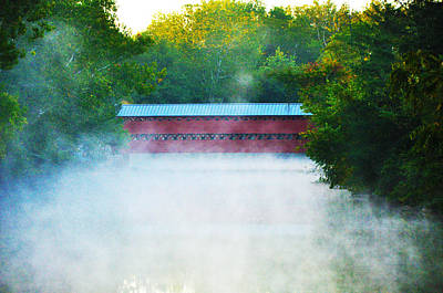 River Photograph - Misty Marsh Creek - Sachs Covered Bridge Gettysburg Pa. by Bill Cannon