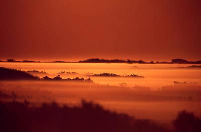 Misty Meadow At Sunrise Art Print