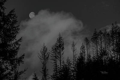 Photograph - Misty Moon Bw by Bill Posner