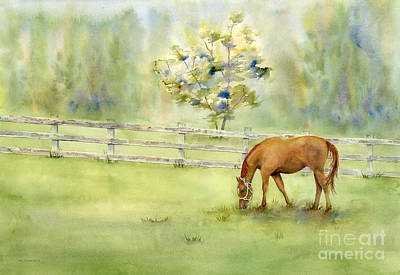 Horse Fence Painting - Misty Morning by Amy Kirkpatrick