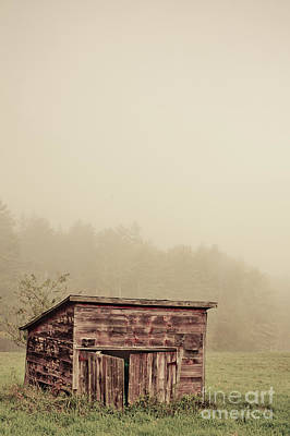 Photograph - Misty Morning Around An Old Wooden Shed by Edward Fielding