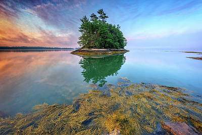 Photograph - Misty Morning At Googins Island by Rick Berk