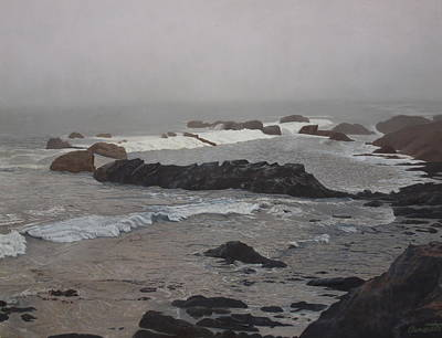 Painting - Misty Morning At Ragged Point, California by Barbara Barber