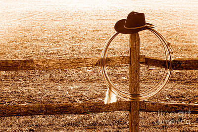 Fencepost Photograph - Misty Morning At The Ranch - Sepia by Olivier Le Queinec