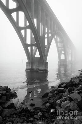 Misty Morning At Yaquina Bridge Print by Inge Johnsson