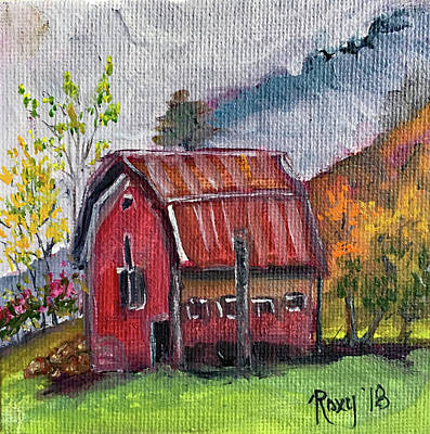 Red Painting - Misty Morning Barn by Roxy Rich