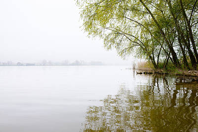 Misty Morning By The Lake Art Print