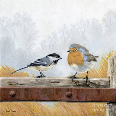 Misty Morning Meadow- Chickadee And European Robin Original