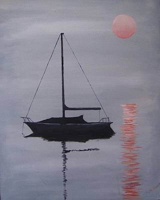 Painting - Misty Morning Mooring by Jack Skinner