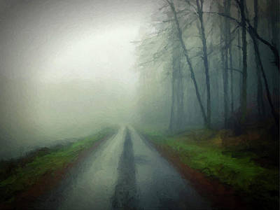 Misty Morning Mountain Road  Art Print by David Dehner
