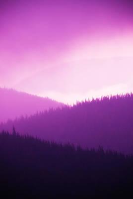 Misty Morning Mountains - Magenta Art Print by Paul W Sharpe Aka Wizard of Wonders