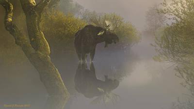 Misty Morning Over The River Art Print