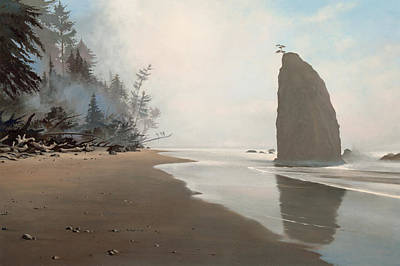 Washington Driftwood Beach Fog Wall Art - Photograph - Misty Morning Rialto Beach by Cliff Wassmann