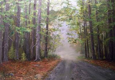 Art Print featuring the painting Misty Morning Road by Ken Ahlering