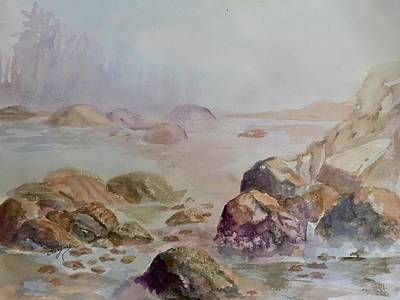 Painting - Misty Morning On The Rocks by Ellen Levinson