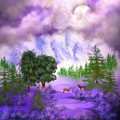 Misty Mountain Deer Art Print