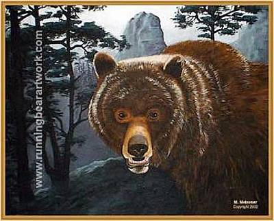 Painting - Misty Mountain Grizzly by Michael Meissner