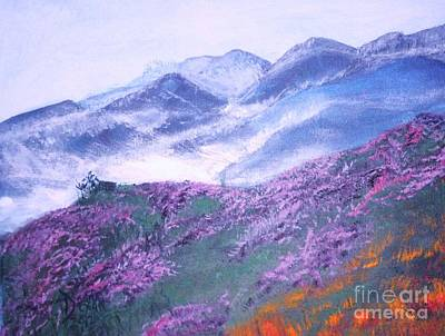 Art Print featuring the painting Misty Mountain Hop by Donna Dixon