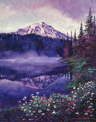 Snow Capped Mountains Wall Art - Painting -  Misty Mountain Lake by David Lloyd Glover