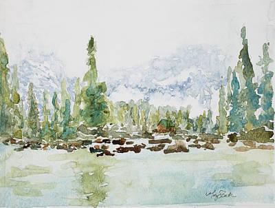 Misty Mountain Lake Art Print by Mary Benke