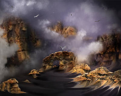Digital Art - Misty Mountain Sunrise by Artful Oasis