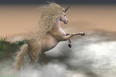 One Horn Digital Art - Misty Mountain Unicorn by Corey Ford