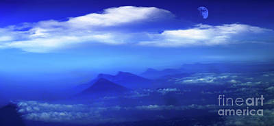 Birdseye Photograph - Misty Mountains Of San Salvador Panorama by Al Bourassa