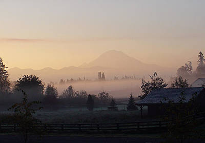 Misty Mt. Rainier Sunrise Art Print by Shirley Heyn
