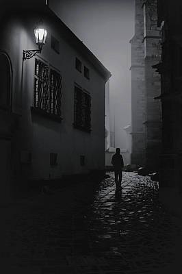 Photograph - Misty Night At Cathedral. Black And White by Jenny Rainbow