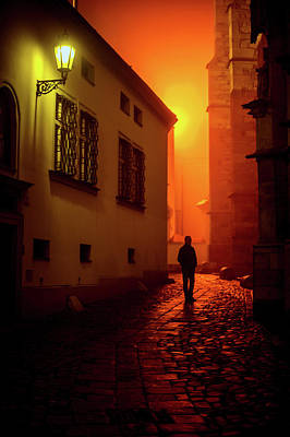Photograph - Misty Night Near Cathedral by Jenny Rainbow