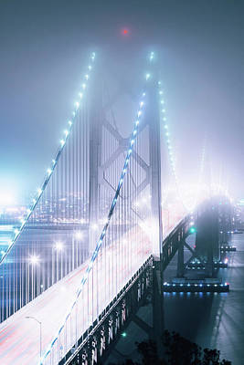 Fog Photograph - Misty Night, Bay Bridge, San Francisco by Vincent James
