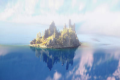 Photograph - Misty Phantom Ship Island Crater Lake by Frank Wilson