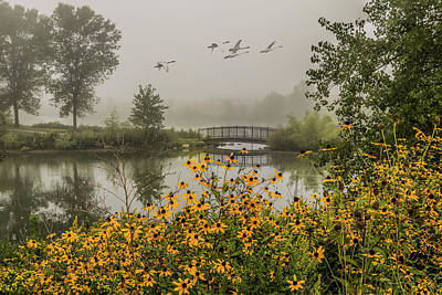 Photograph - Misty Pond Bridge Reflection #1 by Patti Deters