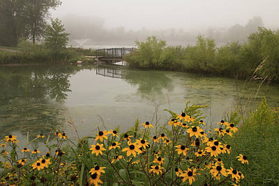 Photograph - Misty Pond Bridge Reflection #4 by Patti Deters