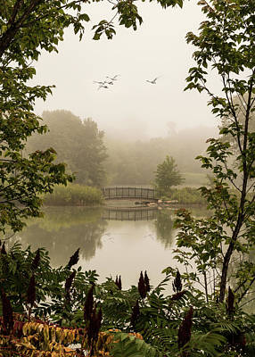 Photograph - Misty Pond Bridge Reflection #6 by Patti Deters