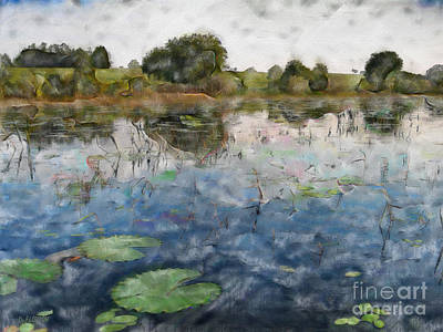 Ebsq Digital Wall Art - Photograph - Misty Pond by Dee Flouton
