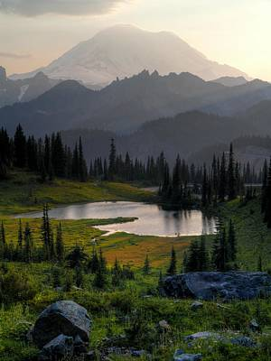 Photograph - Misty Rainier At Sunset by Peter Mooyman