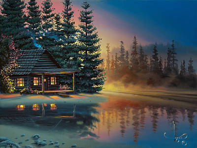 Art Print featuring the painting Misty Refection by Al Hogue