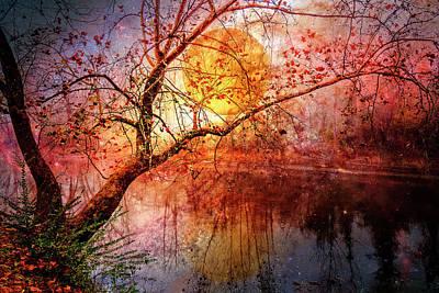 Photograph - Misty River Moonglow by Debra and Dave Vanderlaan