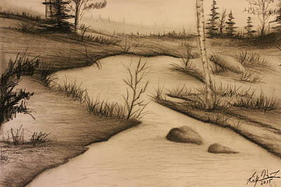 Drawing - Misty River by Ricky Haug