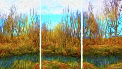 Digital Art - Misty River Vistas - Triptych by Joel Bruce Wallach